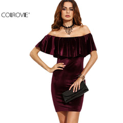 Ruffle COLROVIE Off Shoulder Velvet Bodycon Sexy Women Short Sleeve Mini Dress