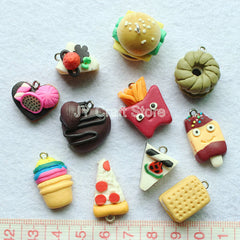 Kawaii Ice Cream Chips sandwich Hamburg Cabochon assorted Flat Back set of 20pcs