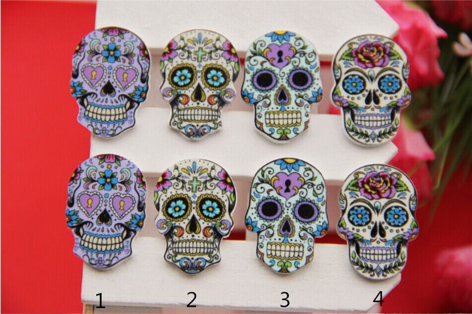 Resin skull flat back  mixed convex circular scrapbooks crafts 50 PC / 21*30 mm