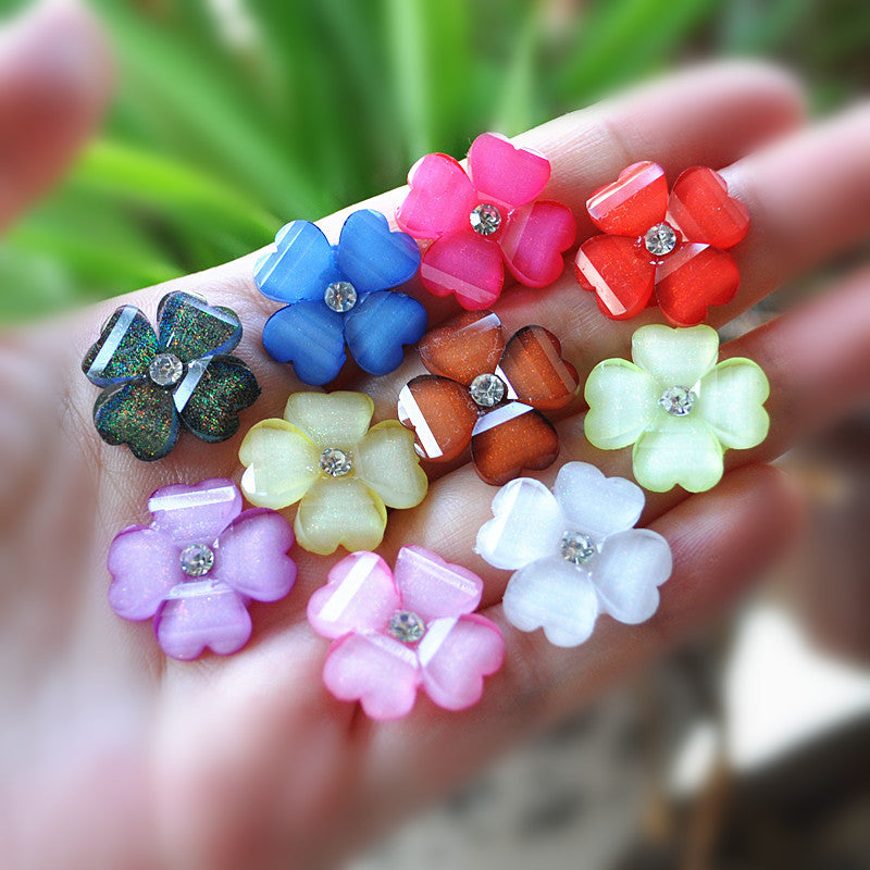 Flat Cuteback resin flower cabochon for DIY hair decoration 50pcs mixed 20mm