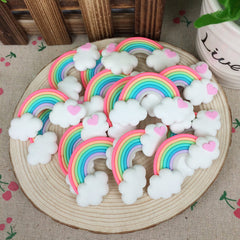 Kawaii Flatback Clay Rainbow Cabochons Scrapbooking Hair Bow Crafts For Phone Case:30*62mm