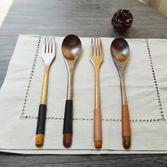 Chinese wooden Tableware Dinner Spoon & Fork With Wire