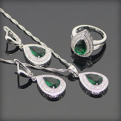 Green Topaz 925 Sterling Silver Jewelry Sets Pendant/Necklace/Earrings/Rings