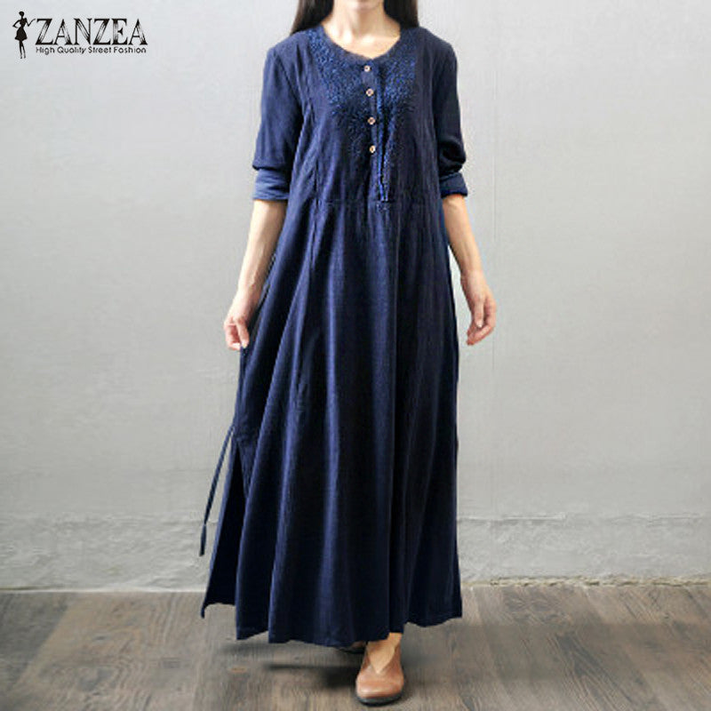 ZANZEA Women Vintage Long Maxi Dress Sleeve Buttons Pockets Casual Loose Solid Elegant Dress