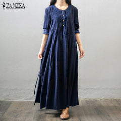 Autumn Women Vintage Long Maxi Dress Long Sleeve Buttons Dress