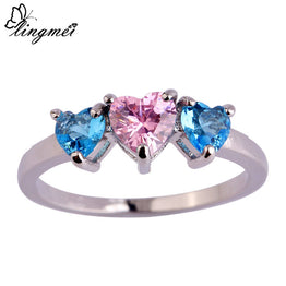 Fashion Blue & Pink CZ Love London Silver Ring