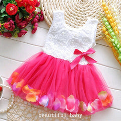 Cotton Infant Petals Hem Tutu Chiffon Floral Princess Summer Dress for Girls
