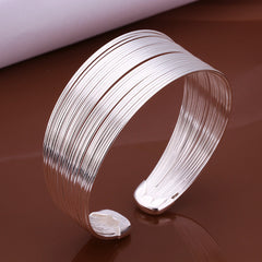 Multiple Line silver plated bangle cum bracelet for women