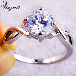White CZ Round Cut New Saucy Silver Ring For Women