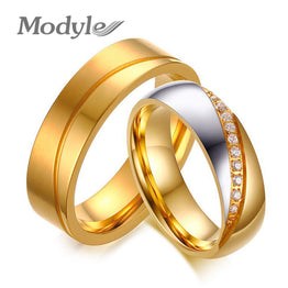 Fashion Wedding Ring for Couples Inlay CZ Zirconia Stainless Steel
