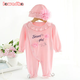 Princess Style Newborn Baby Girl Birthday Dress Rompers+Hat Clothing Sets
