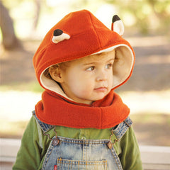 Cute Polar fleece Fox Baby Cap and Scarve for Boys/Girls