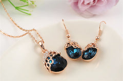Pendant Necklace+Drop Earrings Gold Plated Blue Hand Made Jewelry Set