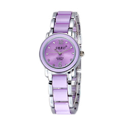Bracelet Watch Woman Silver White Imitation Ceramics Watch For Girls