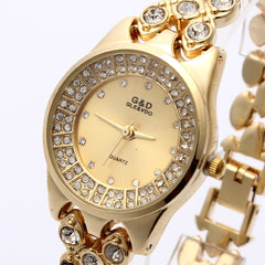 Women Gold Single Chain Luxury Quartz Bracelet Watch