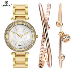 Women Quartz Watch AAA Grade Diamond Gold Wristwatch