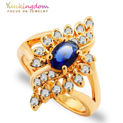 Unique Design Wedding Rings for ladies AAA zircons gems yellow gold