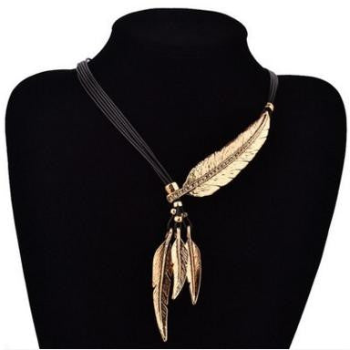 Alloy Fashion Necklace with Feather & Rope Chain Women's Accessories