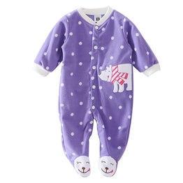 Newborn Baby Rompers/Jumpsuits with Polar Animal Print for Winter