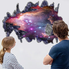 1 PC DIY Home Decor Art Vinyl 3D Dolphine Galactic Space Mural Decals Removable