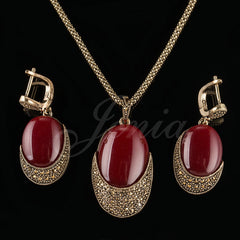 Unique Antique Gold Plated Pendant Necklace and Earrings Jewelry Set