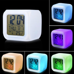 Modern Digital Alarm Clock Desk Gadget Night Glowing Cube LCD Clock