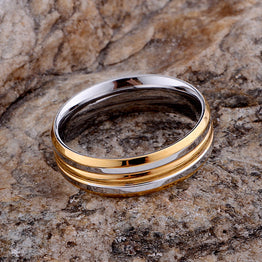 Silver plated rounded shiny golden ring for women