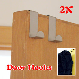 Stainless Steel Self Home Kitchen Wall Door Holder Hook Hanger 2Pcs/Set