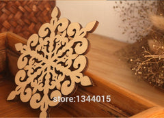 Coaters Retro Hollow Style Wooden Carved Snowflower Coasters Cup Mat Table 10pcs