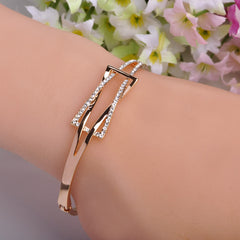 Luxurious Gold Plated Rhinestone Crystal Bangle&Bracelet for Women