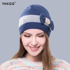 Skullies Striped Cap With Bow-knot Women's Casual Winter Cap