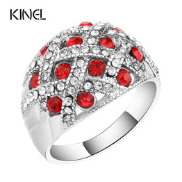 Jewelry Engagement Rings For Women Silver Plated Retro Look Big Oval Red Austrian Crystal Ring