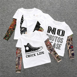 Long Sleeve Novelty Tattoo Print Tees for Girls