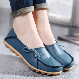 Flat Heel Cow split Four Season Genuine Leather Casual Shoes