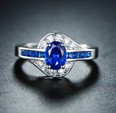 Fashion white gold plated ring sapphire blue spinel for women