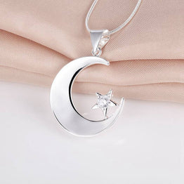 New Arrival Cute Silver Necklace Moon&Star Loving Gift For Women