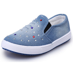 Breathable Blue Denim Canvas Loafers / Casual Shoes for Kids
