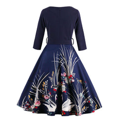 Sisjuly vintage Spring with sashes 1950s festa print flower elegant women dresses