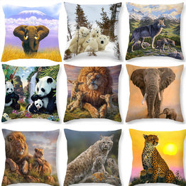 Wild animal Polyester Oriental Pattern Decorative Cushion Cover