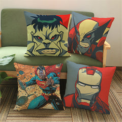 Super Hero Cotton Linen Cushion Cover Pillow 45x45cm