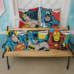 Super Man Hero Pop Art Cartoon Decorative Cushion Cover