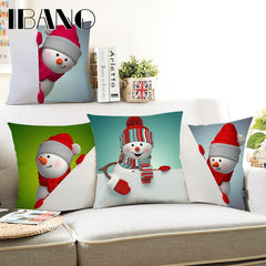 Snowman Christmas Pillow Case 45x45cm Polyester&Linen