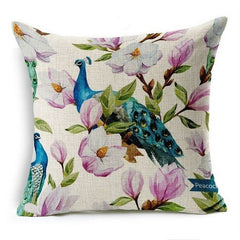 Flamingos Pattern Cushion Cover Cotton Decorative Animal Pillowcase
