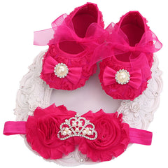 Newborn Baby Girl Elegant Shoes & Headband Set