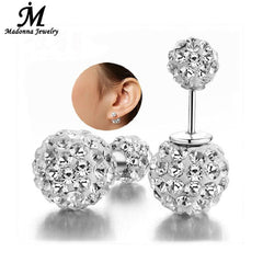 Double Sided Full Crystal Silver Earrings