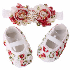 Flower Design Elegant Baby Girl Hedband & Soft shoe Set