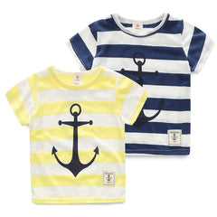 Striped Short Sleeves Anchor print Tops