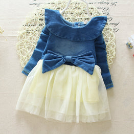 Autumn / Spring Denim Jeans Lace Bow with Long Sleeve Tutu Dress