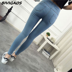 Basic Skinny Ankle Nine Slim Elastic Denim Pants/Leggings jeans for Women