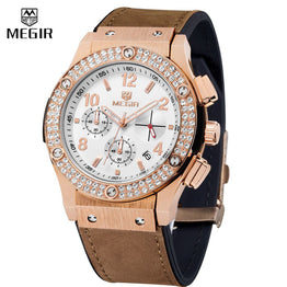 Megir Luxury Brand Designer Leather Silicon strap Crystal Diamond Quartz-watch for Women